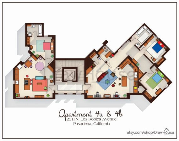 big bang theory art print apartment floor plan tv marvelous large home plans 12 big house floor plans