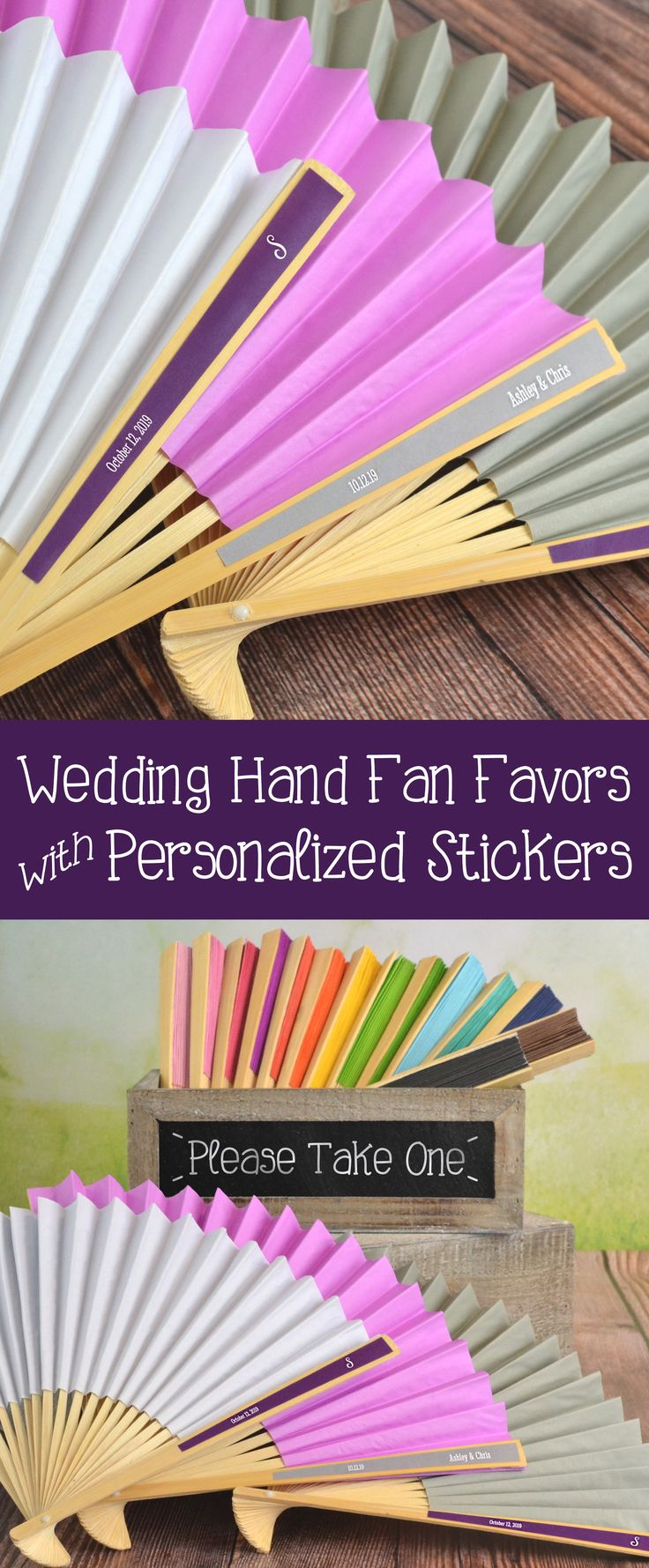Set up a cooling station at your summer wedding ceremony and reception with bottled water and folding paper hand fans personalized with the bride and groom's name and wedding date. Guests can pick them up as they enter the church or reception hall to help keep them cool as they celebrate your wedding day. These personalized hand fans can be ordered at http://myweddingreceptionideas.com/colored-paper-hand-fans-colorful-labels.asp