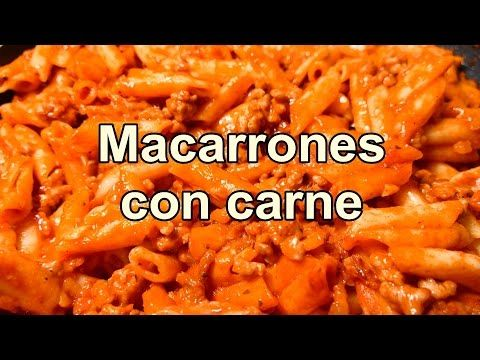 MACARRONES CON CARNE PICADA Y TOMATE - Cocina Facil