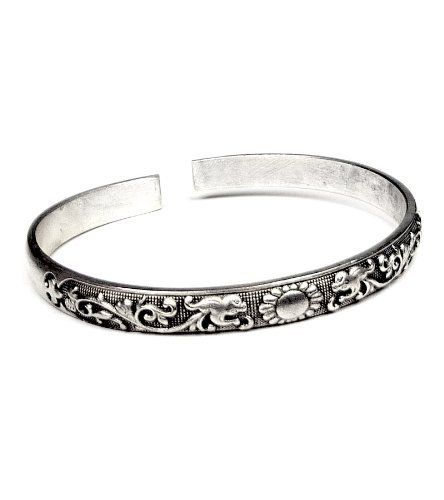 Miao Silver Toned Cuff Bracelet Thin Blooming Flower Penelope Jewelers. $12.99. This is a beautiful Miao silver cuff bracelet with a pattern of flower buds on a vine and a full blossom at its center.. The Miao silver cuff has an antique-like finish.. This piece will give you that natural earthy feeling!. Save 35% Off!