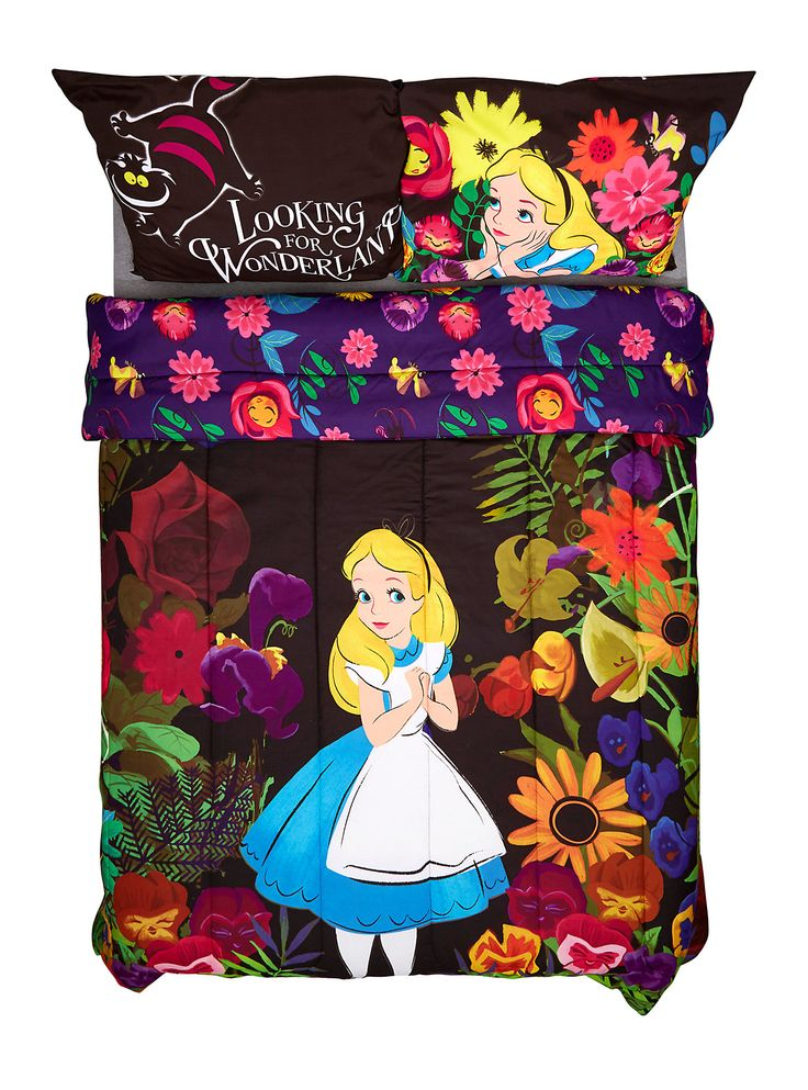 "<p>Full/queen-sized comforter from Disney's <i>Alice in Wonderland</i> featuring an Alice in the forest design.</p>  <p>Sheets and pillowcases not included.</p>  <ul> 	<li>81"" x 86""</li> 	<li>100% polyester</li> 	<li>Wash cold; dry low</li> 	<li>Imported</li> </ul>"