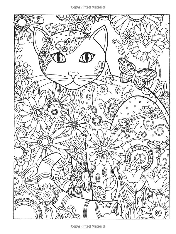 Dover publications creative haven creative cats coloring book artwork by marjorie sarnat butterfly flower abstract doodle zentangle coloring pages colouring