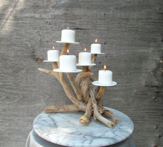 New International Orders Size! Driftwood Six Candles Candelabra, Wedding Centerpiece, Driftwood Candelabra, Beach Decor, Driftwood Art on Etsy, $93.14