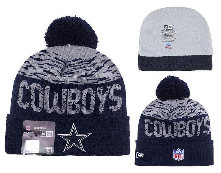 Men's / Women's Dallas Cowboys New Era NFL 2016 On-Field Sports Knit Pom Pom Beanie Hat - Grey / Navy