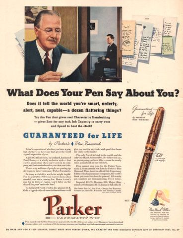 1940 Parker Fountain Pen print ad What does your pen say ...
