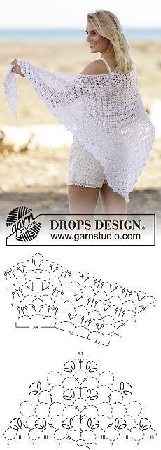 """Chal de ganchillo DROPS con patrón de abanicos en franjas, en """"Cotton Viscose"""". ~ DROPS Design"""