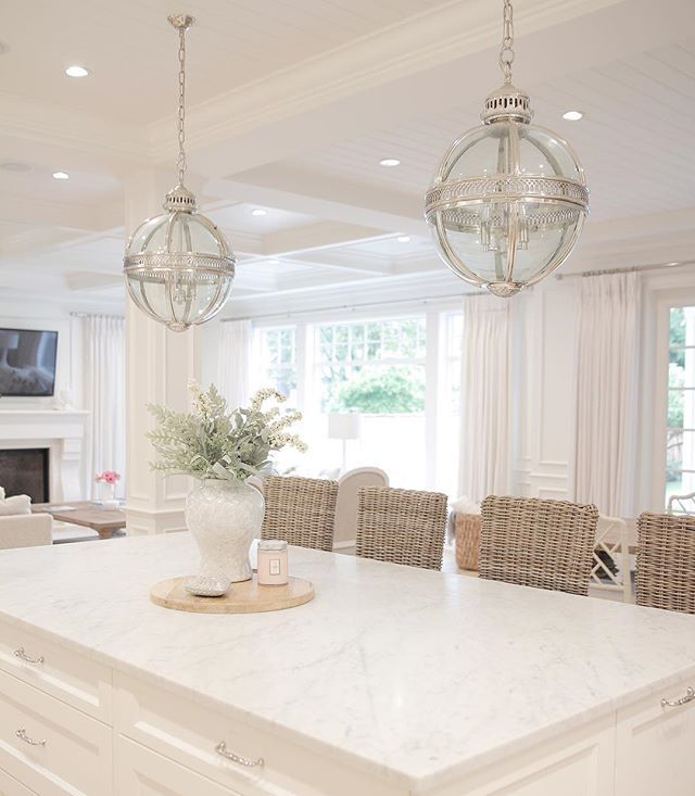 White Kitchen Marble Kitchen Restoration Hardware Coastal Style Open Concept Coastal