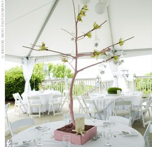 Email      Print      5    Short centerpieces of green grass provided a pop of color, while tall branches with hanging votives and green orchids provided height and drama