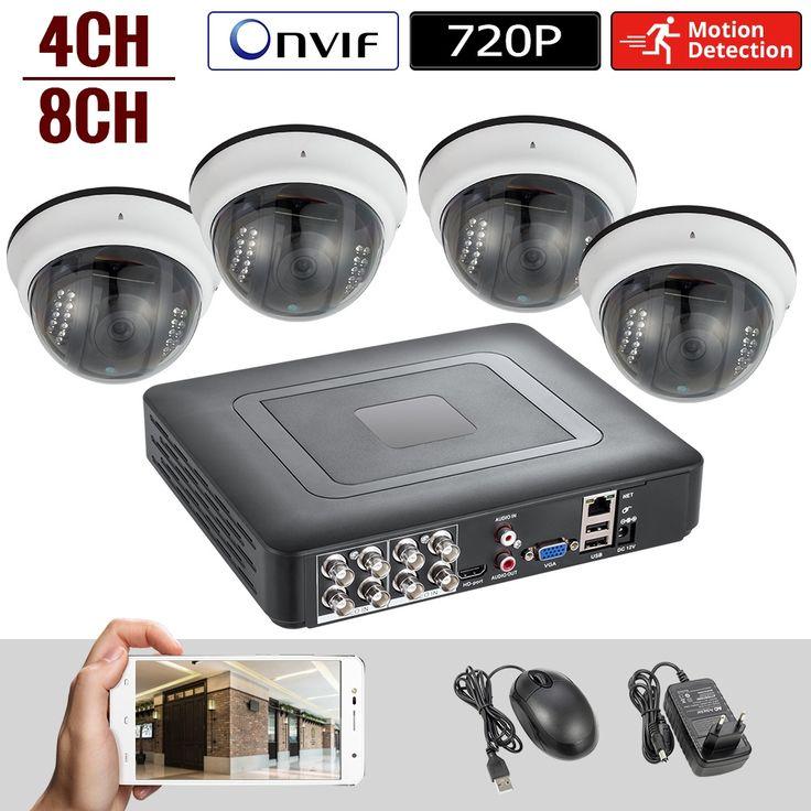 Überwachungskamera System 4 Kanal DVR 1080N AHD Hausüberwachungssystem 4 HD 720P Nachtsicht 2000TVL Wasserdichte Kamera