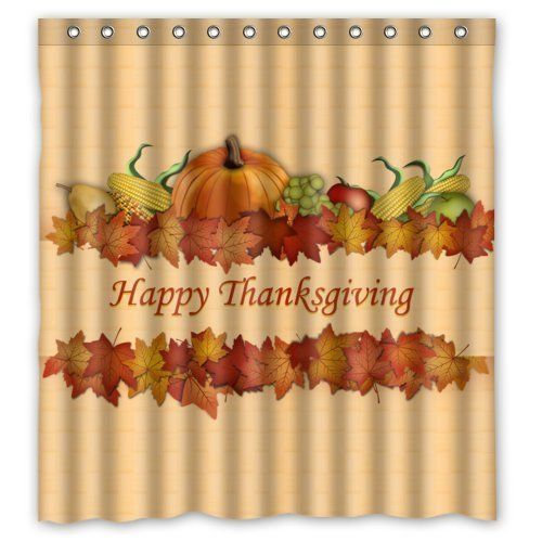 Happy Thanksgiving Day Harvest Festival Waterproof Shower Curtain 66x72 Inches Doesnotapply Holiday