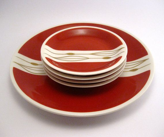 Vintage Plates Porcelain Oscar Schlegelmilch Mid Century Dinnerware Burgundy Red Gold Retro China 1950s 1960s on Etsy, $21.00