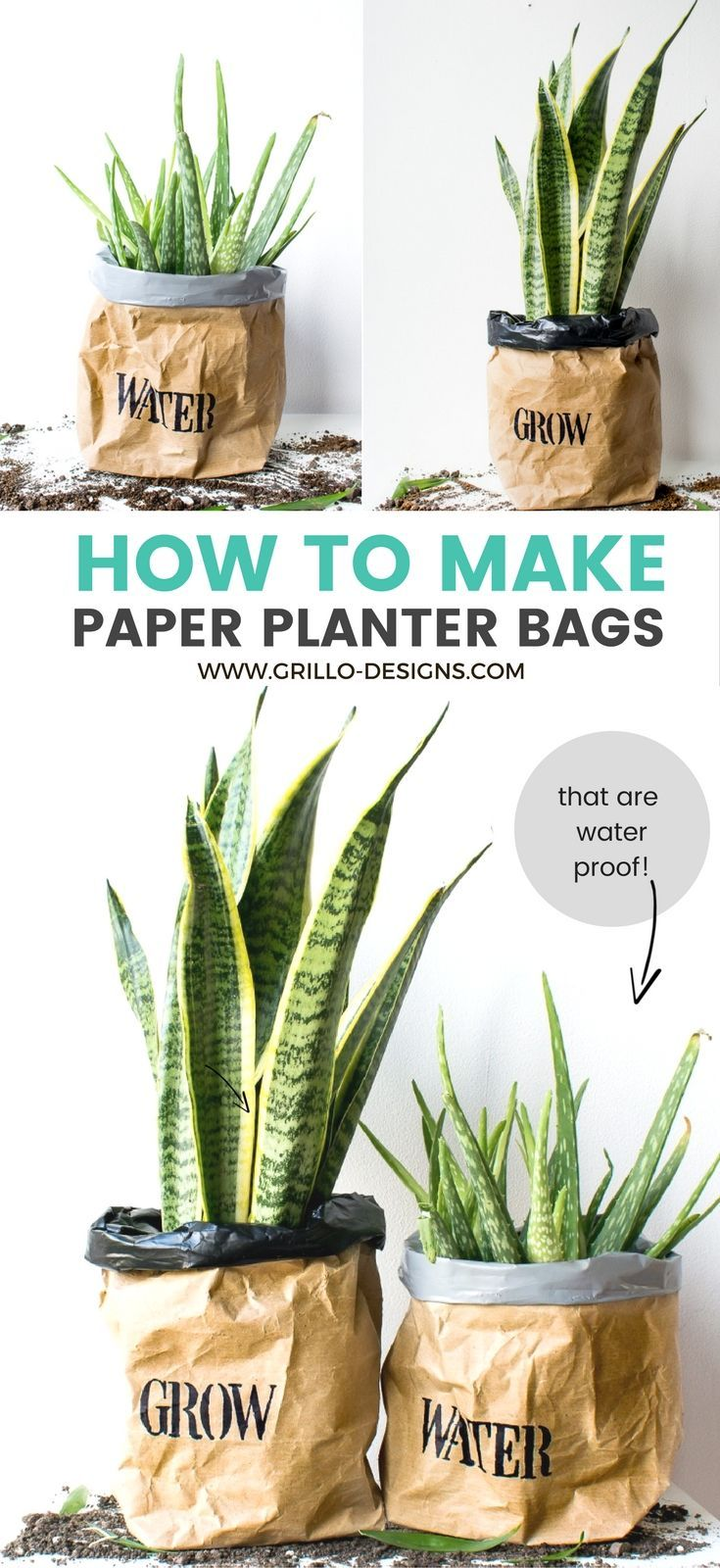 diy kraft paper planter bag tutorial