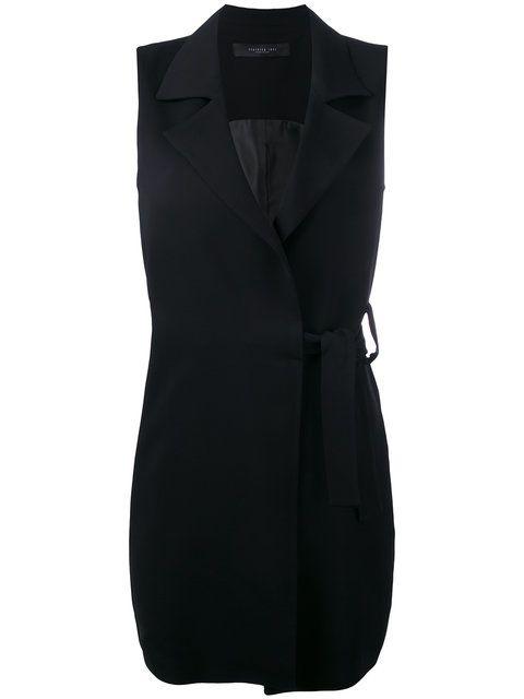 Shop Federica Tosi sleeveless tie-waist blazer.