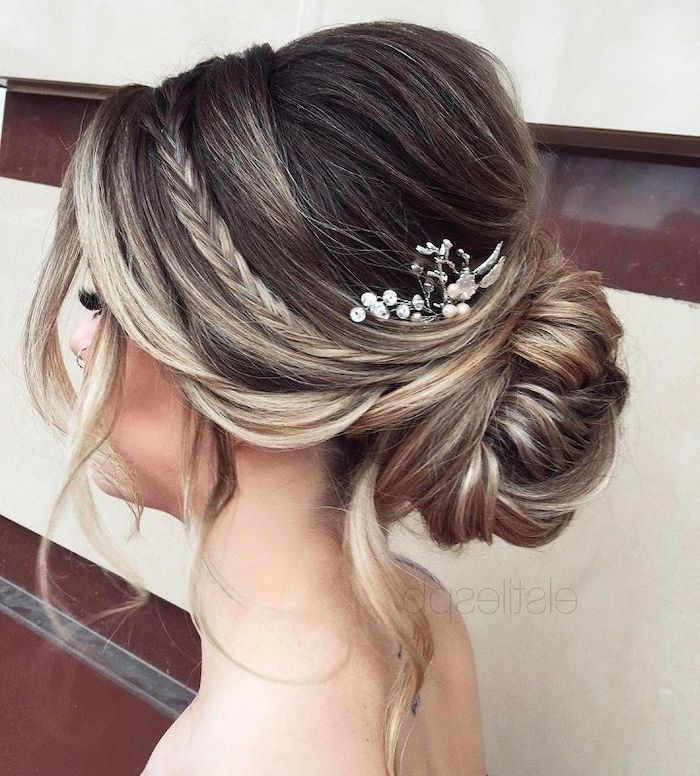 low updo, small pearl hair accessory, bridal updos, brown hair with highlights, small braid