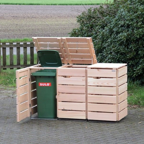 3er Mülltonnenbox Holz, Douglasie Natur
