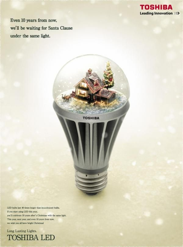 2009 ASIA Toshiba: SNOW DOME, LED Bulbs, Dentsu, Japan, Toshiba, Print, Outdoor…