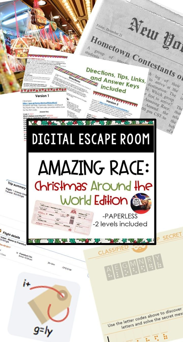 Christmas Around The World Digital Escape Room Amazing Race Breakout Amazing Race Around The Worlds Breakout Game