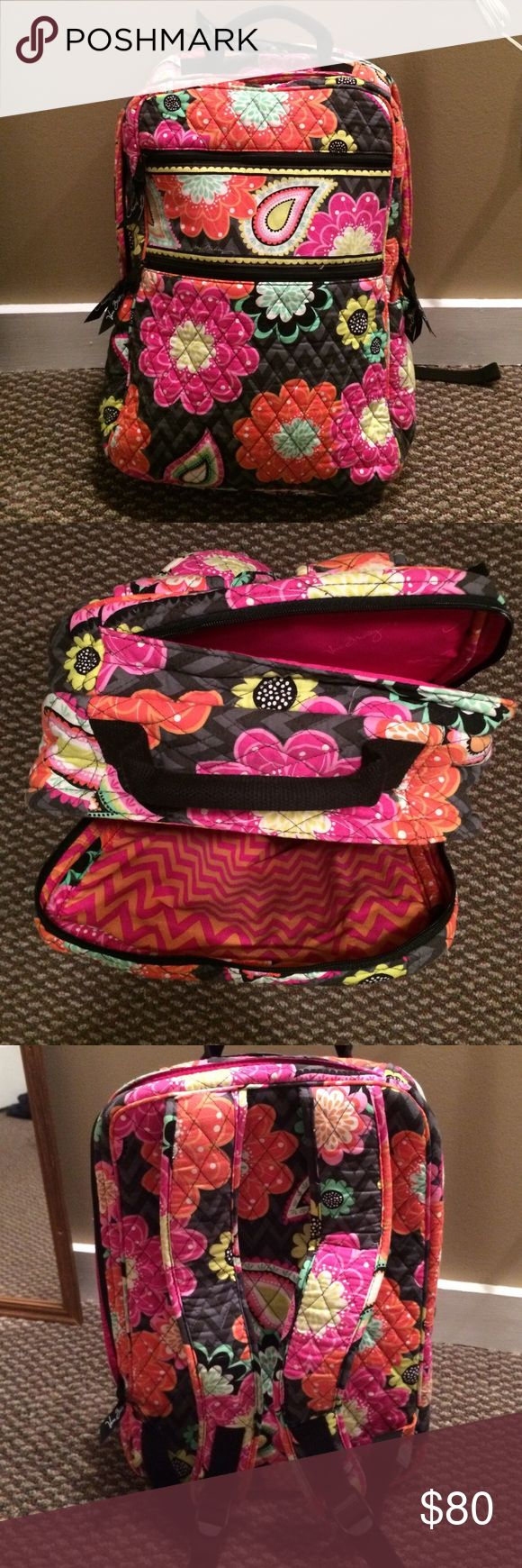 Vera Bradley backpack Floral bright Vera Bradley laptop backpack. One small rip on the left shoulder, easily fixable. Slightly used. Colors still very vibrant. Ziggy Zinnia Vera Bradley Bags Backpacks