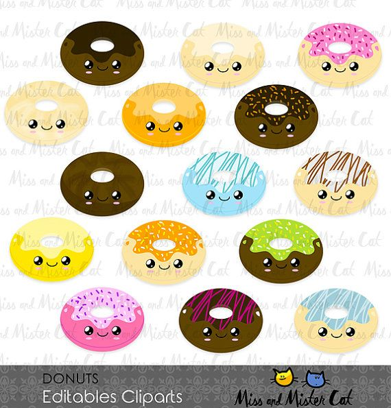 Donuts ClipArts. Yummy Donuts vector graphics, Donuts clip art, digital images. Commercial use. Model Donuts   Vector clipart set is suitable
