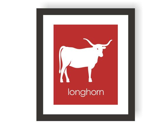 Longhorn Art Print, Cowboy Art, Wild West, Western Wall Decor, Kids Room Decor, Boys Bedroom, Toddler Art, Modern Nursery, Playroom Print - $15