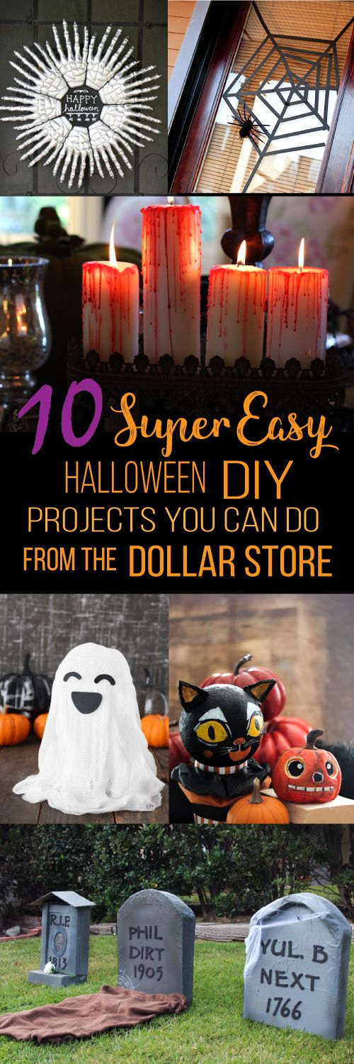 These 10 easy Dollar Store Halloween decorations are THE BEST! I'm so glad I found these AMAZING ideas! Now I have some good dollar store Halloween DIY decor projects. Definitely pinning!