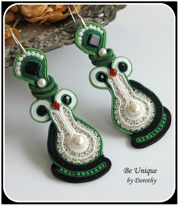 Soutache Earrings Soutache Jewelry Perls and by BeUniqueGallery