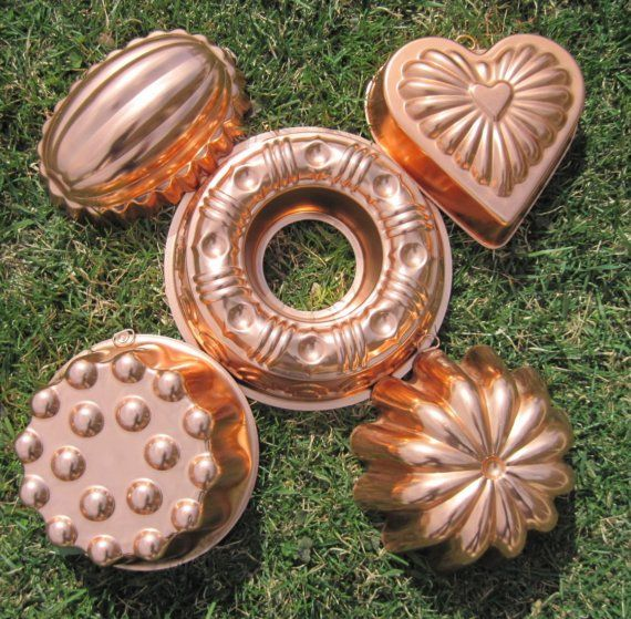 Vintage Jello Molds Copper Kitchen Molds Instant by treasureagain