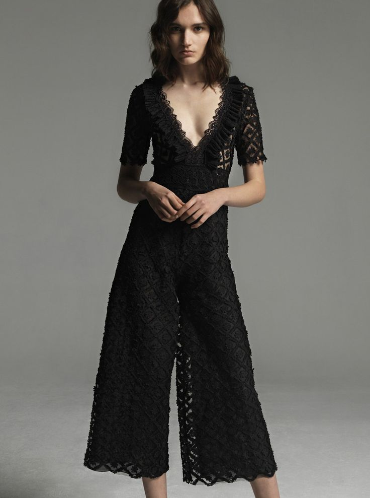Costarellos Fall Winter 2017/18-  FW1720<br />Plunging Neckline jumpsuit