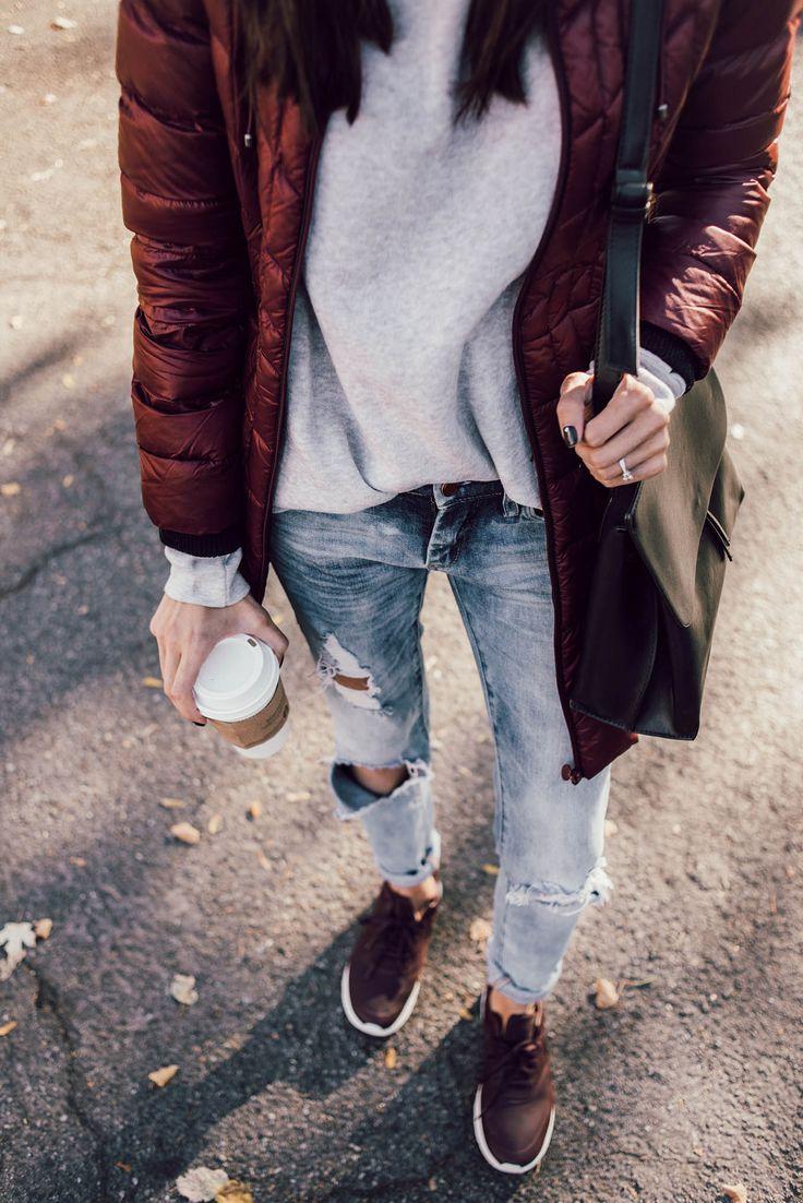 Burgundy Jacket, Distressed Denim, and Nikes