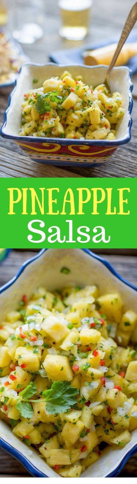 Easy & Fresh Pineapple Salsa - A wonderfully easy salsa that is great on tacos, grilled chicken, burritos or with a bag of chips.  http://www.savingdessert.com