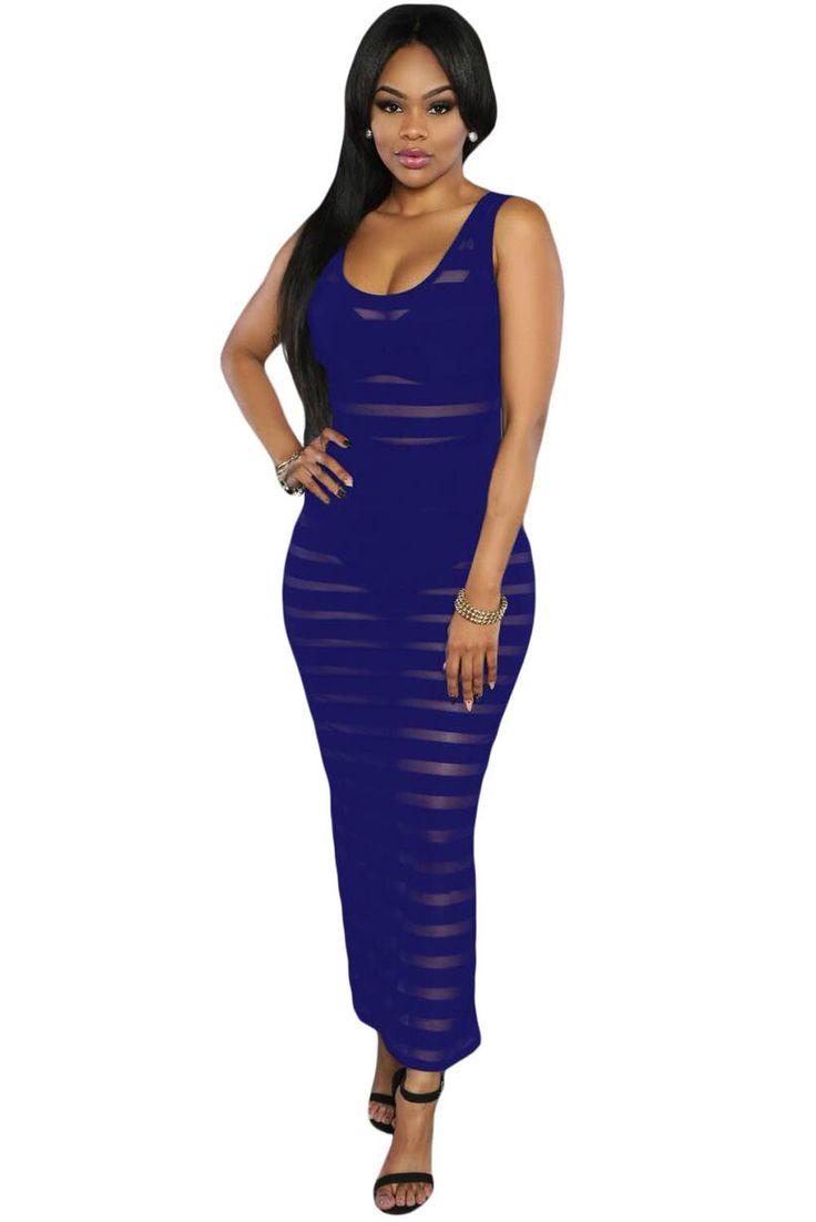 Blue Sleeveless Maxi Dress LAVELIQ