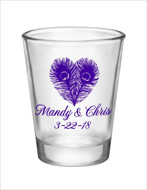 Wedding Favors Peacock Shot Glasses Personalized Wedding Favor 120 1.5oz Glass Shot Glasses NEW Peacock Wedding Designs by Factory21 on Etsy