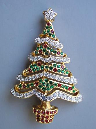 """SWAROVSKI  Christmas tree brooch in red, green and clear rhinestones, 2-1/2"""", marked 2000."""