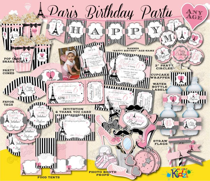 Paris Birthday Package, Printable Paris Party Package, Parisian Birthday Invitation, Paris First Birthday Party Decoration,Paris Party Decor.  ******************IMPORTANT************** * Its a digital printable listing. No physical items will be shipped. * Due to the nature of our products and services, refunds cannot be issued. ************************************************  THIS PACKAGE INCLUDES THE FOLLOWING:  *****************INVITATION IS OPTIONAL******************* • Birthday Party…