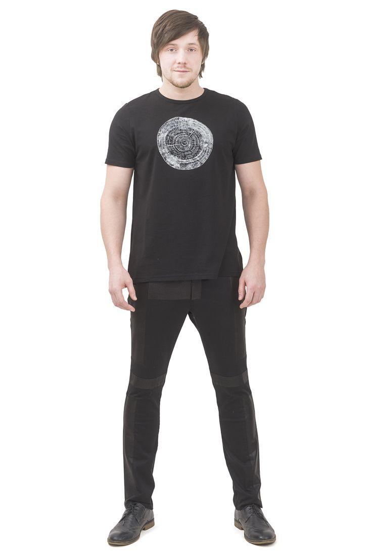black men's t-shirt. print section of a tree  Pavel Yerokin