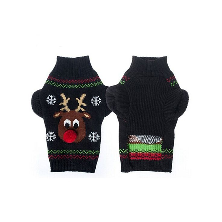 This adorable Rudolf sweater is perfect for making sure your small dog is in style at this year's Ugly Christmas Sweater party! Made with acrylic fibers and is available in 6 different sizes. Free shipping!