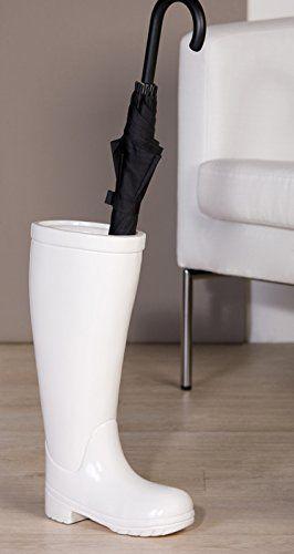 Porte parapluie - bottes de pluie - blanc -