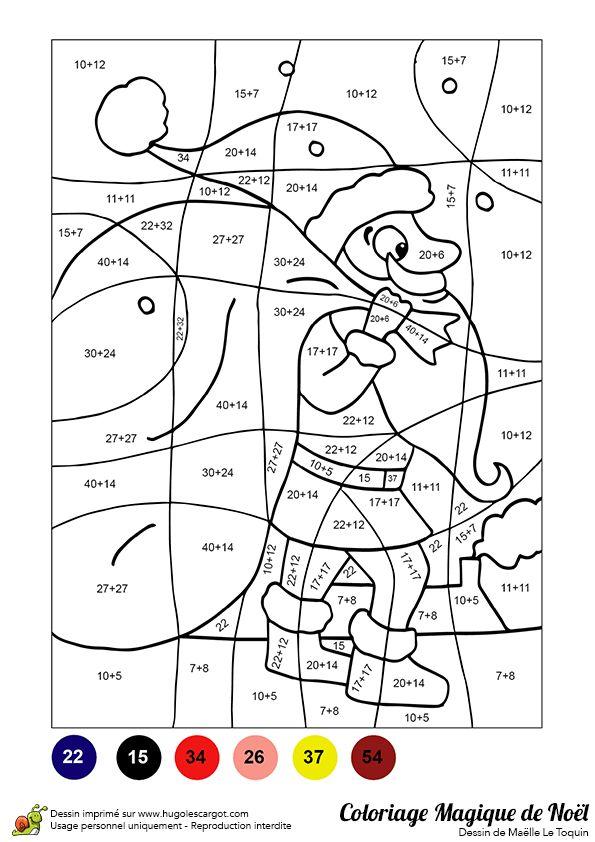 Coloriage magique d'un papa noël portant une énorme hotte