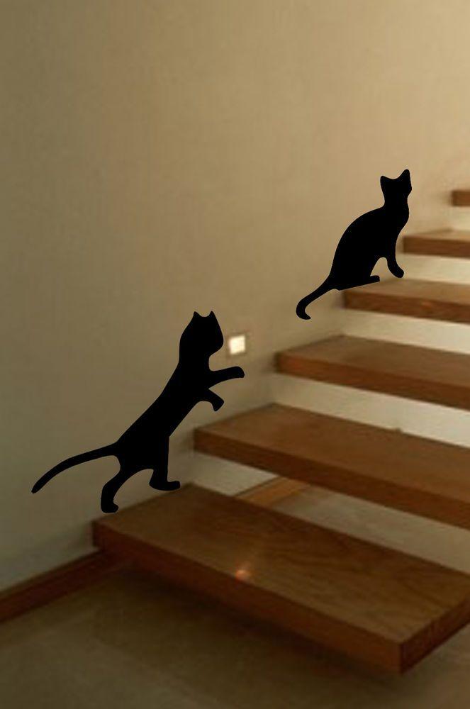 Playful Cats Wall Art, Animal, Vinyl Sticker WA041 in Home, Furniture & DIY, DIY Materials, Wallpaper & Accessories | eBay