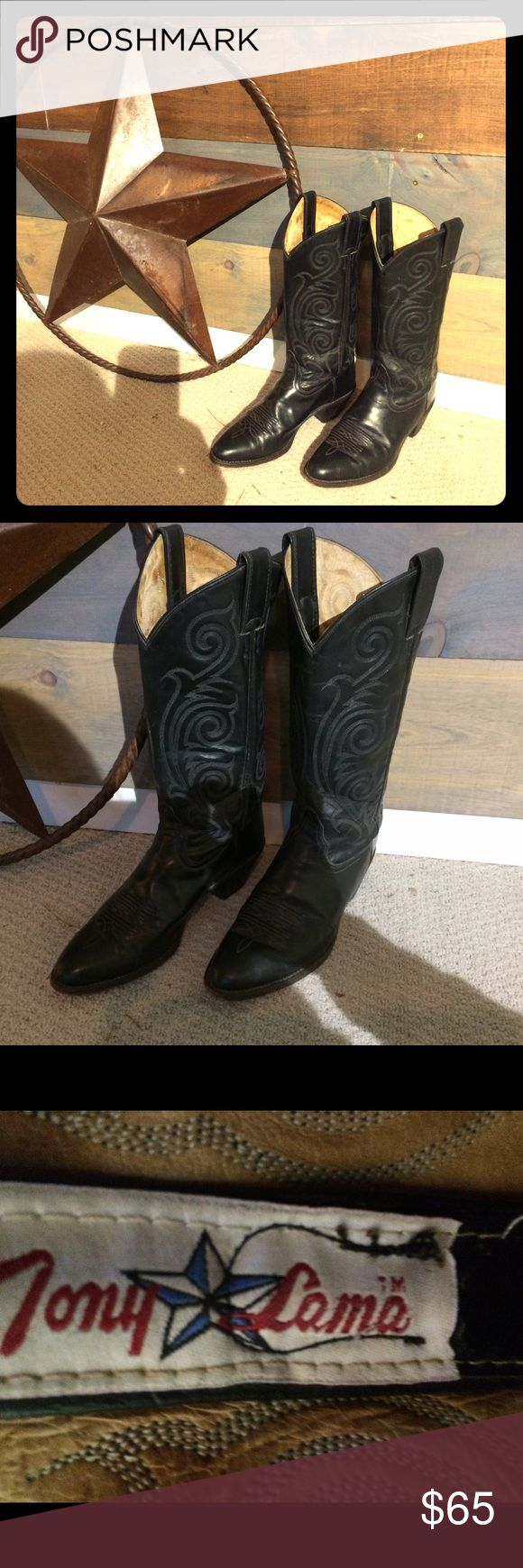 Vintage Tony Lama cowboy boots Black 1972 Tony Lama Cowboy boots. Women's size 7. 1.5 inch heel and 30 inch shaft(sole to top). Great condition Tony Lama Shoes Heeled Boots