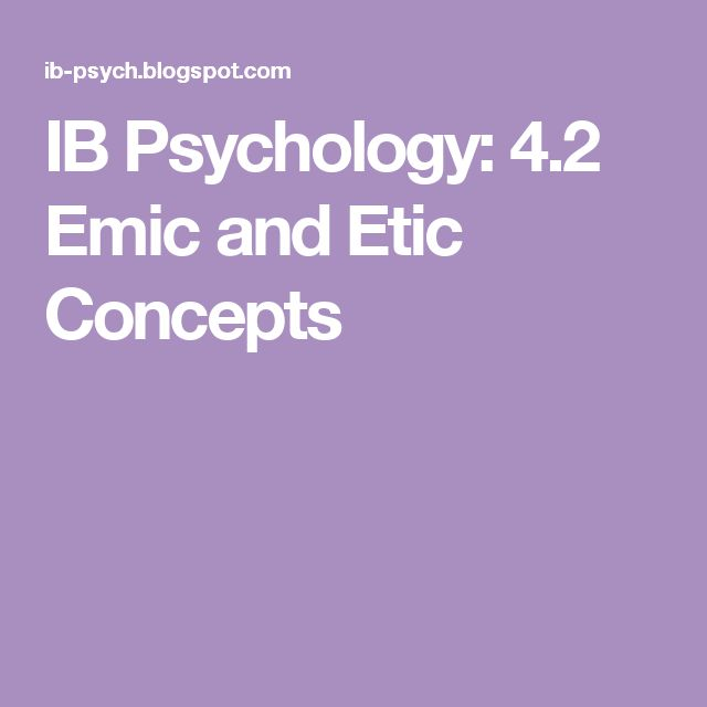 IB Psychology: 4.2 Emic and Etic Concepts