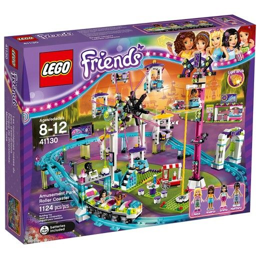 Push the LEGO® Friends Amusement Park Roller Coaster around the track, sit a mini-doll in the front carriage to activate the light brick, and activate the cool functions as you go! Turn the Ferris wheel with its swinging gondolas, then push the car to the top of the drop tower and release to watch it go spinning round. This set is full of detailed functions and accessories for a day at the iconic Amusement Park. Includes 4 mini-doll figures. <br>• Build an amusement pa...