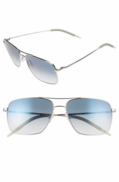 7cb3f6a9fbd Oliver Peoples Clifton 58mm Aviator Sunglasses