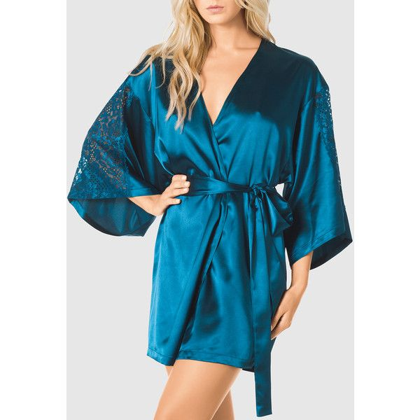 Free Size Sexy Sheer Floral Kimono Bath Robe Short Sleeve Lingeries With Belt