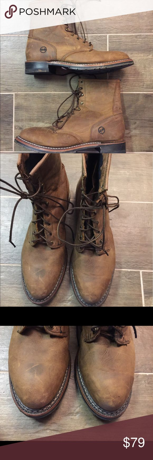Men's Double H lacer boots size 13 Men's Double H lacer boots size 13. This is a great pair of genuine leather brown lace up boots. They are like new. Only worn a couple of times. Please view all pictures. Double H Shoes Boots