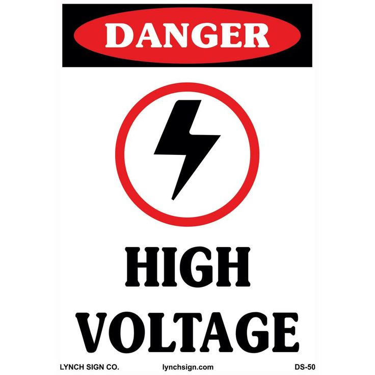10 in. x 14 in. High Voltage Sign Printed on More Durable, Thicker, Longer Lasting Styrene Plastic, White With Black And Red Printing