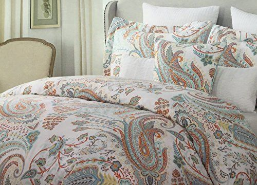 Cynthia Rowley Full Queen Paisley Duvet Cover Set Aquas