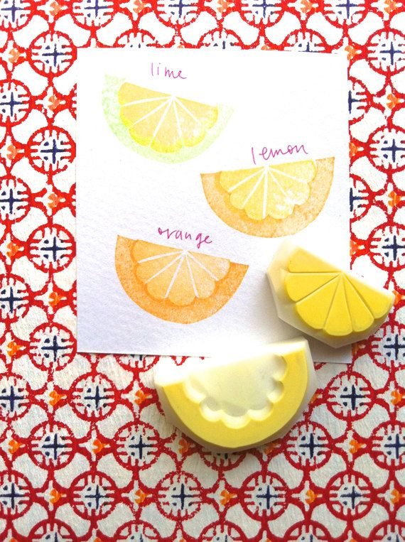 citrus rubber stamp. lemon orange lime hand carved stamp. fruits hand carved rubber stamps. summer craft projects. set of 2