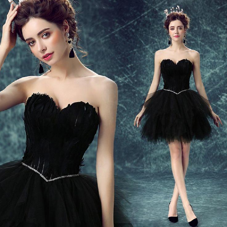 Short Sexy Black Sweetheart girls Evening dress