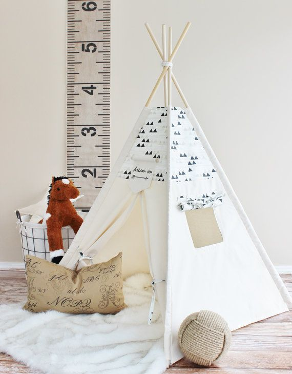 CRÈME en zwarte driehoeken Playhouse, Canvas, Tipi, Tipi, Play Tent, Play House…